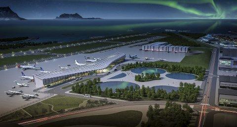 Bodø lufthavn: Slik ser Bodø kommune for seg Bodø lufthavn i framtiden. Men først må planene vedtas nasjonalt. Illustrasjon: Bodø kommune