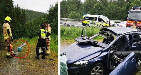 En bil en totalskadd etter å eksplosjon like ved E6. Foto: Nordlys-tipser