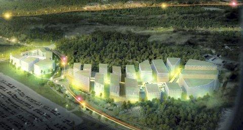 Like ved Bergen lufthavn er det planer om å bygge ut en kontorby på til sammen 180.000 kvadratmeter i løpet av de neste 20 årene.ILLUSTRASJON: A-LAB