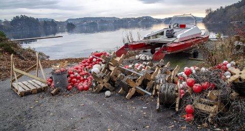 Fana Roklubb sine bøyer i Nordåsvannet druknet som følge av stor vekst av blåskjell. Nå er bøyene som dannet baner for roerne tatt på land.