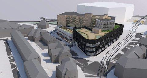 Her er Kronstadkvartalet slik det er tenkt sett fra Inndalsveien mot sør – mot høyskoleområdet.  ILLUSTRASJON: Arkitektgruppen Cubus