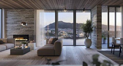 Fra stuen i denne nyoppførte leiligheten ved Bellevue i Kalfaret har du utsikt over det meste av Bergen sentrum. Koronakrisen har ikke lagt demper på kjøpelysten. FOTO: DNB EIENDOM