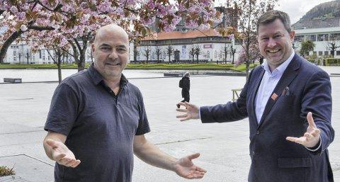 OPTIMISTER: De er engasjerte på byens vegne, men fikk Steinar Kristoffersen i Bergen Sentrum AS og reiselivsdirektør Anders Nyland fikk nei til å arrangere tilbud for barnefamilier på og rundt Festplassen. Nå har det som skulle komme i stedet også blitt avlyst.