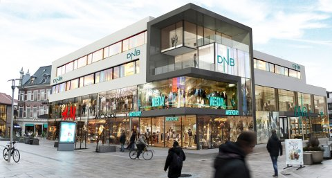Resultatet: Slik skal det nye DNB-bygget i gågata se ut i høst. Tre klesbutikker skal også inn i det samme bygget. (Illustrasjon: Link Arkitektur)