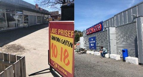 Våren 2020 åpnet også Extra-butikkene på Gressvik torg (bildet til venstre) og Ørebekk butikkene på søndager. Da hadde konkurrenter som Rema 1000 i Ålekilen  holdt det gående siden 2018. Snart er det slutt.