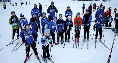 Godt oppmøte ved start: Ankenes Skiklubb stilte med tolv løpere i Kilbotn. Foto: Ankenes Skiklubb