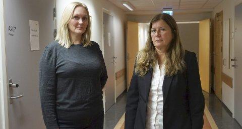 LEDERE: Brita Jørgensen (t.v.) og May-Hanne Hansen vil ikke kommentere turnusene som er innført for sykepleiere ved UNN Narvik som følge av en pågående arbeidskonflikt. Etter det Fremover kjenner til, innebærer det blant annet at ansatte går lørdagsvakter på bare halvannen time. – Situasjonen er utfordrende, men vi arbeider for å få til en god løsning, sier de. Alle foto: Fritz Hansen