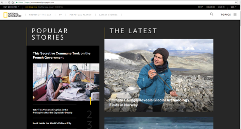 Slik så det ut da artikkelen om brearkeologi i Oppland ble presentert på forsiden av National Geographic.
