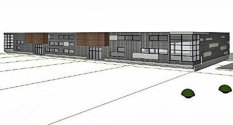 Nytt bygg: Skisse over det nye Aka-bygget i Gran, som skal være ferdig i februar og huse Biltema og Europris. Illustrasjon: Halvorsen & reine AS