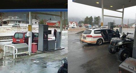 Bildet til venstre viser den røde Volvoen i det den skal stikke av etter å ha fylt bensin. To timer senere var de to personene tilbake på stasjonen, denne gang i politibil (bildet til høyre). Foto: privat