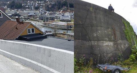 Sikring: Muren i den første svingen på Freim  er nå 90 cm høy. Bildet innfelt viser Nils Petter Freim på murkanten i 2019. – Muren er direkte livsfarlig, sa han. den gang. Arkivfoto; Ernst Olsen / Foto: Privat