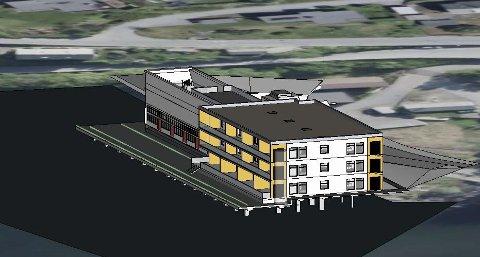 Planene:  Det skal bygges 12 leiligheter nærmest Opo. – Importkaien AS har også planer om utvikling av det verna objektet og ønsker å bygge båthavn for bydelen, samt bidra til at Freimssanden blir en utvidet del av strandpromenaden, sier styreleder. Illustrasjon: Importkaien AS