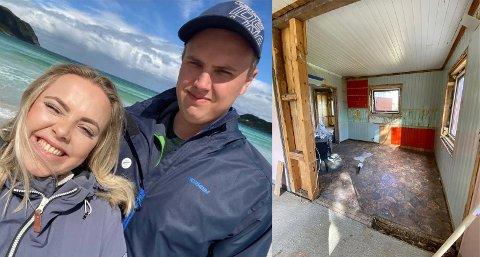 Malin Vinger Sæther (22) og Kristian Bøhler (24) har lagt ned en solid innsats i det gamle huset de kjøpte.