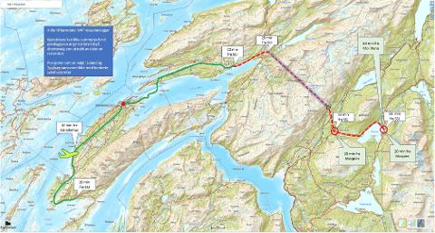 PENDLERVEI: I forutsetningsnotatet fra administrasjonen ligger det et kart der det er beregnet kjøretid fra rådhuset i Sandnessjøen. Styret valgte å ta med Tovåsen med videre i utredningen, og viste slingringsmonn på 20-minuttersbegrepet som omegn baserer seg på.