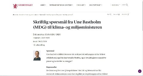 Faksimile: Une Bastholm fra MDG har sendt et skriftlig spørsmål angående NOAH og Langøya. Det liker generalsekretær i Norsk Forening for farlig avfall (NFFA) svært dårlig. Han bruker sterke karakteritikker.Skjermdump: Stortinget.no