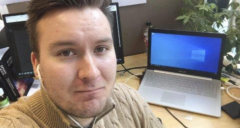 Slik blir det fremover: Høyresgruppeleder Jon Tunheim er klar for digitalt formannskap tordag.Foto: Privat