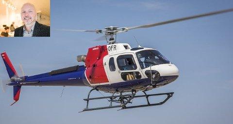 Næringssjef Sigve Olsen (innfelt) har spurt reiselivsnæringen i Vestvågøy hva de mener om helikoptertrafikk.