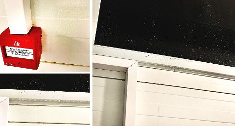 VANN I HALLEN:For to uker siden kom det vann  fra vinduet og inn i hallen. Nå har turnforeningen reklamert på feilen.