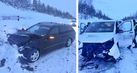 SKADER: Begge bilene fikk store materielle skader.