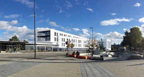 VED SKYSSTASJONEN: Et fire etasjers næringsbygg skal reises ved skysstasjonen i Gjøvik. ILLUSTASJON: JAF Arkitektkontor