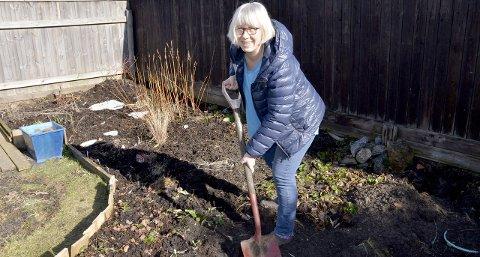 Forberedelser: Marianne Kasbohm er allerede i gang med å gjøre hagen på Torstrand klar til å ta imot sommerblomster og et stort utvalg av andre planter. Her det skal det etter hvert plantes et stort utvalg av busker og planter.Foto: Bjørn-Tore Sandbrekkene