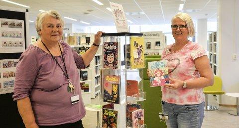 Mange alternativ: Grete Gløsen Josefsen (t.v.) og Tone Iversen ved Rana Bibliotek har varierte tilbud også på sommeren.foto: inger gretasdatter