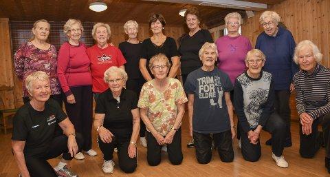 Sprek gjeng: Foran f.v.: Randi Aas Fjæstad (72), Hjørdis Kolloen (86), Lillian Mikkelsen (87), Reidun Andreassen (88), Agnes Tronstad (92) og Kirsten Lundby (90). Bak f.v.: Randi Linnerud (78), Reidun Dagestad (86), Anne Marit Nordskogen (82), Aslaug Korsgård (86), Anne Grethe Lehne (85), Bjørg Johanne Prestrud (77), Inger Arnesen (79) og Kari Tallhaug (82). FOTO: Asgeir Høimoen