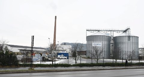 HER: Lyden oppsto inne på anlegget til Moelven Bioenergi i Brumunddal. Til høyre i bildet anlegget til Solør Bioenergi.