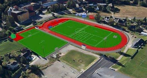 Skarpsno Arena: Slik blir det nye friidrettsanlegget til Moelven IL. Hovedbana ser vi til høyre. Det grønne feltet på venstre side viser dagens nierbane. Anlegget skal stå klart før sommerferien.  11. september blir det åpningsstevne, og kanskje kommer de store stjernene.