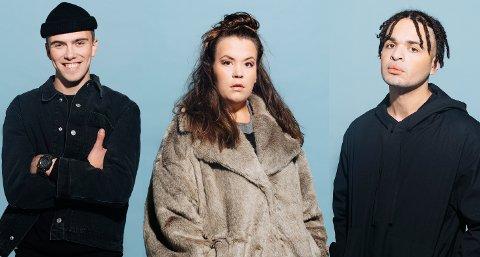 KOMMER TIL HØNEFOSS: William Greni Arnø (kjent fra TV-serien Blank), Ina Svenningdal (Skam) og Julian Karenga.