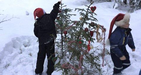 Så gjør vi så: I klatrejungelen har barna pyntet hele to juletrær. Nå kan jula bare komme i Hovin også.