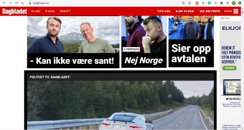 SCREENSHOT: Det er bilder av Gaustatoppen som fyller riksmediene idag, som de ferskeste mediene har, som pressebilder fra TV2s Landkampen. Her er Dagbladets nettside.