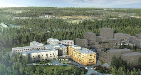 VISJON OG VIRKELIGHET: LHL-sykehuset er samlokalisert med interkommunale Helsehuset (gult bygg). Hemfosa har rett til å bygge ytterligere 30.000 kvadratmeter, og jobber for fullt med å hente interesserte leietakere. ILL: Hemfosa/Aspelin Ramm