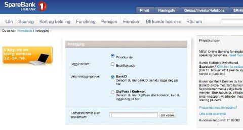 Nettbanken til Sparebank 1 SR-Bank vil være nede kommende helg.