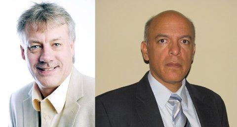 Egil Aanestad slutter som administrerende direktør i Halliburton Skandinavia. Luis Mera (t.h) overtar stillingen.