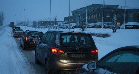 Slik såg det ut ved Stangeland omlag klokka 09.30 onsdag morgon.