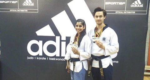 Taekwondoparet: Nina Bansal og Joachim Wien sikret seg gull under det åpne belgiske mesterskapet i taekwondo.