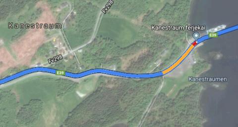 I følge Google Maps er det betydelig kortere ventetid for de som skal til Halsa.