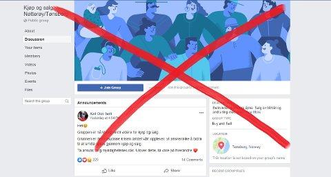 Stengt: Det blir ingen kjøp og salg i gruppen Kjøp og Salg Nøtterøy/Tønsberg framover. Gruppen stenger for å bidra til å begrense smitten av koronavirus.