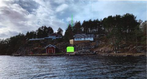 Hytteeierne har klaget på at de ikke får lov til å oppføre en båtbu som her er illustrert med grønn farge.