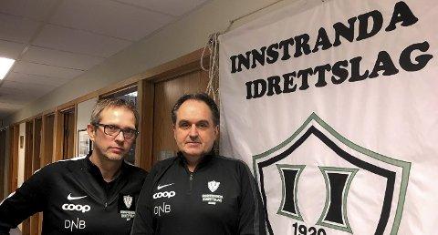 FERDIG: 30. juni er Kjell Harald Nilsens (t.h.) siste arbeidsdag som sportslig leder i Innstranda IL. Her med Daglig leder Trond Vegard Seivåg.