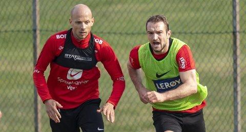 Veton Berisha på trening med Ruben Kristiansen lørdag. – Han er perfekt for oss, sier Lars Arne Nilsen.