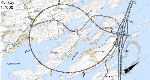 Steinutfylling: Arealet nede til høyre på bildet (i grått) skal fylles ut med 1,7 millioner kubikk sprengstein fra tunneldrivingen i Rogfast. Utfyllingen skal gi et nytt, stort næringsareal på Kvitsøy, som dermed får større landareal etter at Rogfast er ferdig.