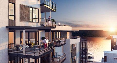 VANNKANTEN: Slik ser leilighetene ut som nå bygges. Nå er også det foreløpig siste byggetrinnet lagt ut for salg.