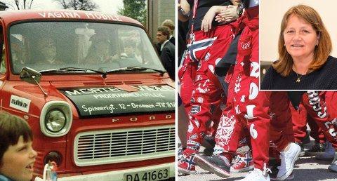GODE RÅD og GODE ØNSKER: Helsesøster og russemamma Kristin Sundet (innfelt) med gode råd til både foreldre og russ 2017. Til venstre er russebilen Sundet selv var med på da hun rullet i Drammen i 1983.