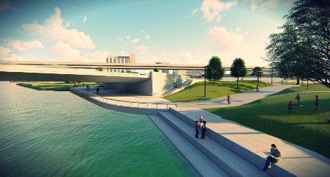 TO NYE BRUER: Bybrua skal rives allerede til neste år. Nå er det en mulighet for at også Holmenbrua rives samtidig. Slik kan sistnevnte bro se ut når den er ferdig.