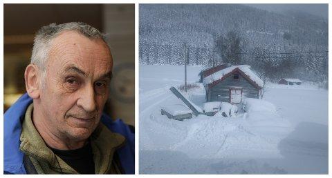 OVERRASKANDE: Hallstein Dvergsdal hadde ikkje trudd vi skulle få så mykje snø i år: – Det er den største mengda som har komme over så kort tid på lang tid, seier han.