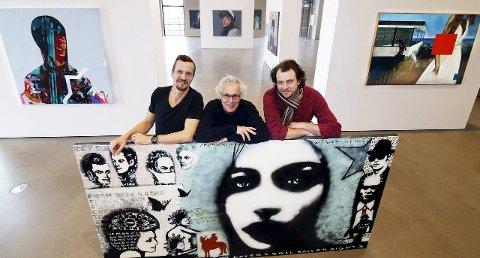 Åpner på lørdag: Espen Nyborg (til venstre), Erik Formoe og Glenn Marius Skibsted stiller ut sammen i Hydrogenfabrikkens kunstall Foto: Svein Kristiansen
