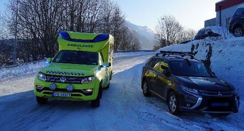 Ambulanse ved ulykkesstedet.
