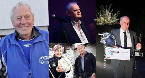 TIDLIGERE VINNERE: Fra før har Kay Hafsrød (Idd SK, f.v.), Øivind Jørstad (Tistedalens Musikforening, i midten øverst), Hans Lie (TFL, t.h.), Marianne Hammerstad (Kvik Halden) og Odd Grønberg (TTIF) blitt kåret til Årets ildsjel. I januar skal en ny vinner kåres, og juryen har valgt ut fem finalister.